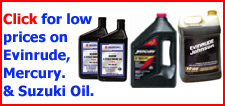 Evinrude, Mercury, and Suzuki Outboard Oil at the lowest prices.